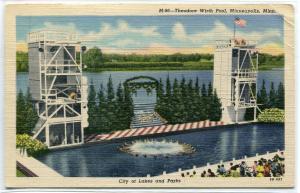 Theodore Wirth Swimming Pool Aqua Follies Water Show Minneapolis MN postcard