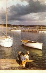 Vintage Cornwall Postcard, Padstow Harbour, Children Playing, Boats FL6