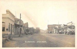 RPPC EUREKA, NV Street Scene Chevron, Larry's Club c1940s Vintage Postcard