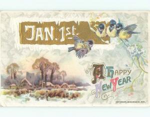 Divided-Back NEW YEAR SCENE Great Postcard W7491