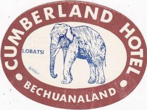 Bechuanaland Lobatsi Cumberland Hotel Brown Elephant Vintage Luggage Label s3543