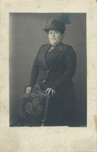 Postcard Women portrait glamour hats dress soacial history early photo