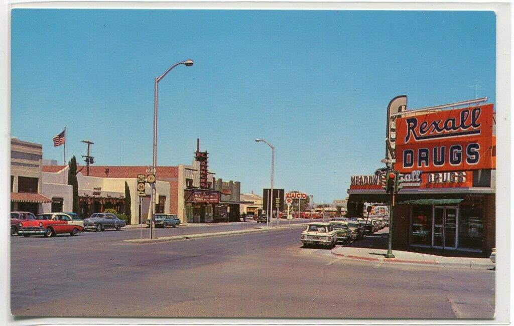 Vintage Deming New Mexico Street Scene Drug Store Theater