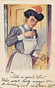IT'S A GIRL SIR~VERY PRETTY NURSE~EMBOSSED H H TAMMEN ARTIST DRAWN 1907 POSTCARD