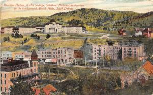 Hot Springs South Dakota~Business Section Bird's Eye View~Nat'l Sanitarium~c1910