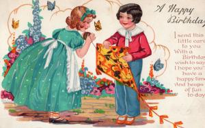 Antique Kite Flying Birthday Greetings Postcard