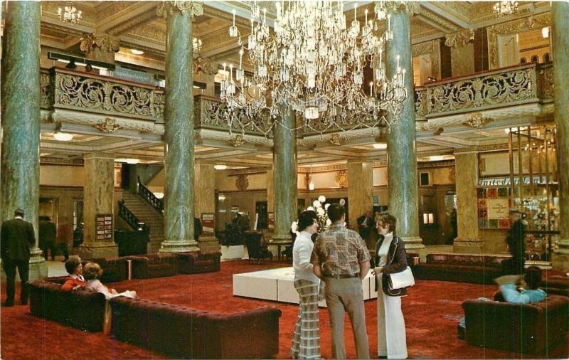 Salt Lake City Utah~Folk in Lobby at Hotel Utah~Crystal Chandelier 1960 Postcard