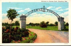 Nebraska Columbus Entrance To Pawnee Park 1944 Curteich