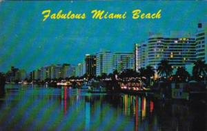 Florida Miami Beach At Night Looking North Along Indian River From 41st Stree...