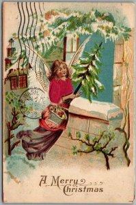 Vintage CHRISTMAS Postcard Flying Angel w/ Xmas Tree Real Silk Dress 1907 Cancel
