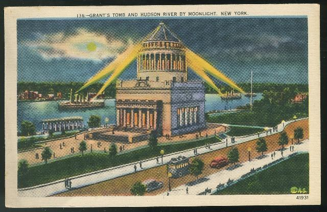 New York City NY Grant's Tomb and Hudson River by Moonlight Linen Postcard