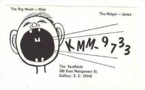 Radio Card, KMM 9733, Gaffney, South Carolina, 1960s