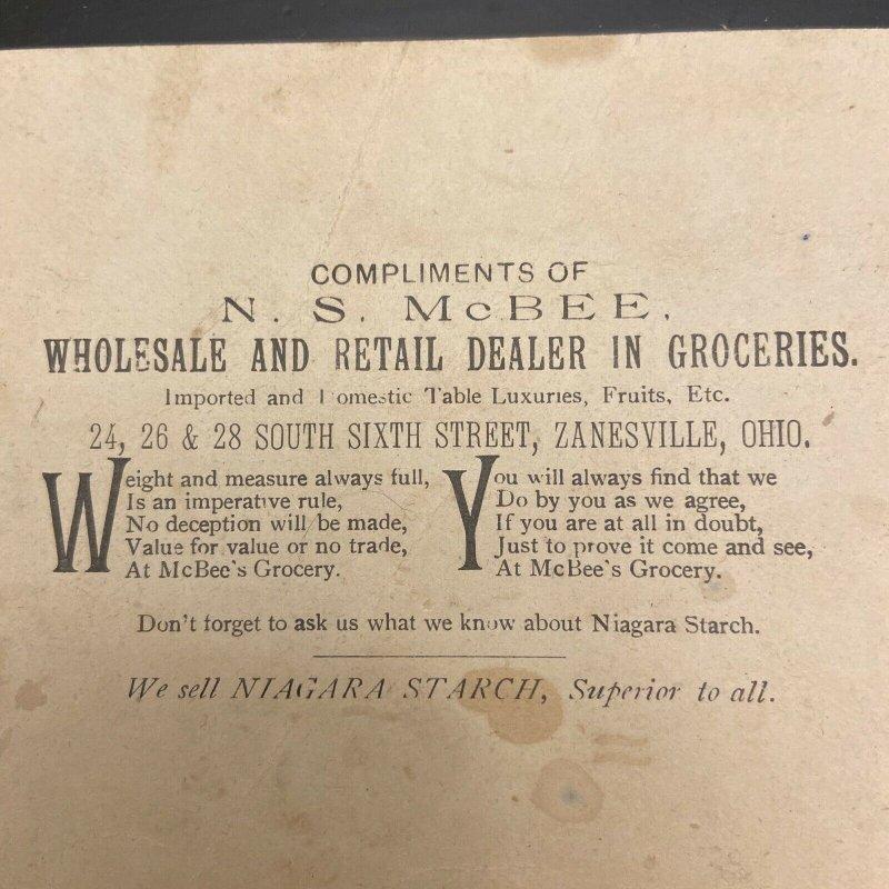 N.S. McBee Groceries Zanesville Ohio Niagara Starch Victorian Trade Card Antique