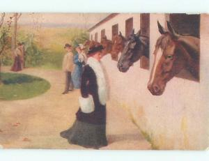 Pre-Linen Fashion RICH WOMEN IN FANCY CLOTHES INSPECT RACE HORSES AC4123