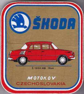 1000 MB 1964 SKODA AUTO MANUFACTURING LABEL CZECHOSLOVAKIA