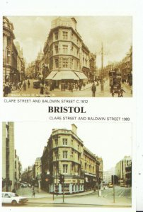 Bristol Postcard - Clare Street and Baldwin Street c1912 and 1989 - Ref 14569A