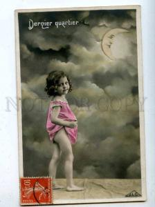 206662 NUDE Little Girl w/ MOON Crescent Vintage PHOTO PC