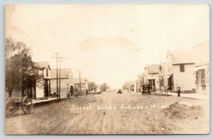 Audubon MN~Car & Buggies Share Dirt Main St~Hitching Posts~c1910* RPPC Reprint?