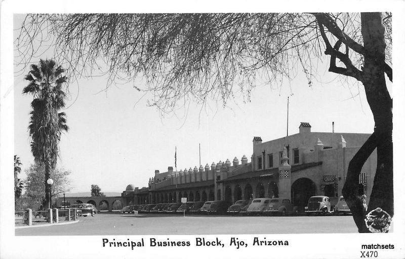 1940s AJO ARIZONA Principal Business Block FRASHER RPPC Real Photo 3048 autos