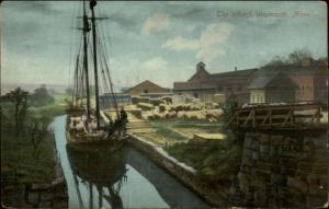 Weymouth MA Ship in Canal c1910 Postcard