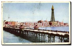 Postcard Old North Pier and Promenade Blackpool