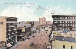 Bird's Eye View, Portage Avenue, Looking East, Winnipeg, Manitoba, Canada, PU...