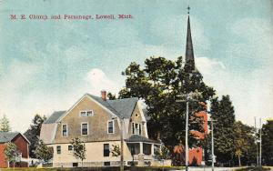 Lowell Michigan~Methodist Episcopal ME Church & Parsonage~Barn~1910 Postcard