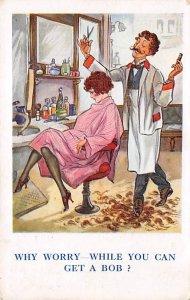 Lady in a Barber Chair Getting A Bob Haircut Cartoon Occupation, Barber 1925
