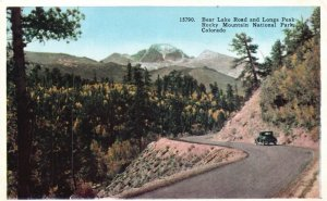 Rocky Mt. Nat'l Park, CO, Bear Lake Rd. & Long's Peak, Vintage Postcard g8378