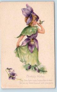 FANTASY FLOWER GIRL  W/Butterfly   c1910s Signed Artist Dulk Birthday Postcard