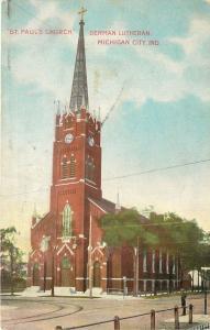 Michigan City Indiana~St Paul's Church~German Lutheran~Man on Corner~1909
