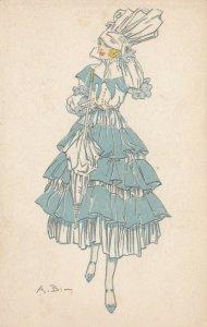 ART DECO ; Female wearing blue/white 3-tiered dress, white parasol, PU-1917