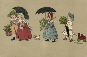 Artist Signed Ethel Parkinson, Children with Umbrella, Doll, Toy (1908) Postcard