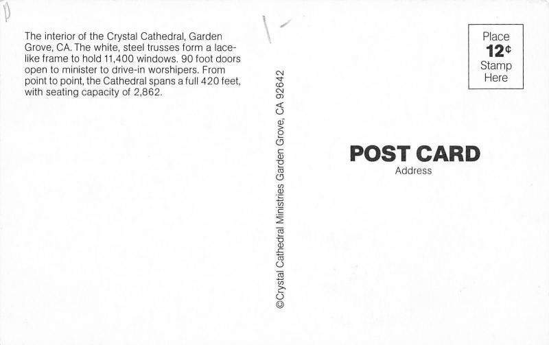 Garden Grove California~Robert Schuller Crystal Cathedral~Church Interior~1970s