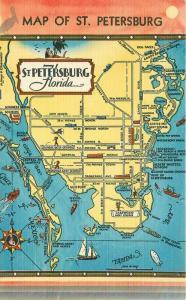 Hartman 1940s Map Attractions St Petersburg Florida linen Postcard 2035