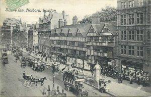 England London Postcard Holborn Staple Inn bunk bus horse carriage old houses