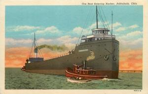 Ashtabula Ohio~Ore Boat Thomas F Dole Entering Harbor~Tugboat~1920s Postcard