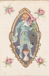 Happy NEW YEAR to you, 1900-10s; Young man in blue suit carrying Roses