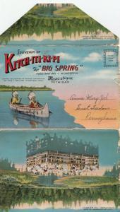 MANISTIQUE , Michigan, 30-40s; Kitch-Iti-Ki-Pi The BIG SPRING Folder Postcard