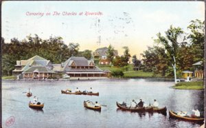 View shows several boats in middle of the lake at the Public Gardens, 1908