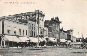 Eaton Rapids Michigan Main Street West Side Vintage Postcard AA6539