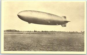 German Zeppelin Dirigible Airship Postcard Blimp Landing Scene w/ 1973 PA Cancel