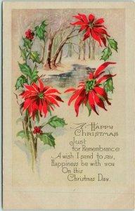 1926 A HAPPY CHRISTMAS Greetings Postcard Winter River Scene / Poinsettias