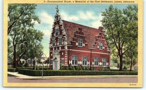 Postcard DE Lewes Zwaanendael House Vintage Linen R15