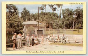 Mt Dora FL~Donnelly Park~Old Folks Play Shuffle Board~Young Bucks Watch~1950 PC