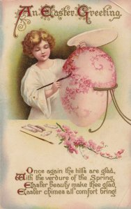 Angel Painting Easter Egg Antique Postcard