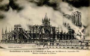 France - (WWI) Cathedral of Rheims in Flames