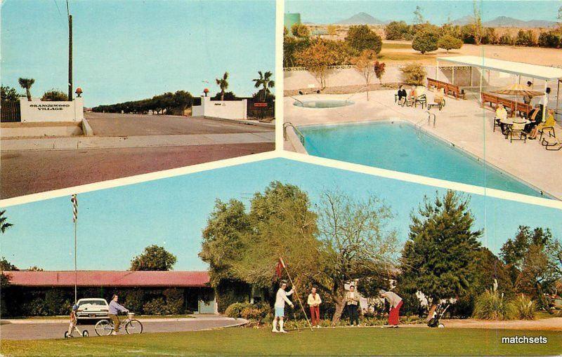 1960s Phoenix Arizona Orangewood Village Mobile Home Park Pool Postcard 6575