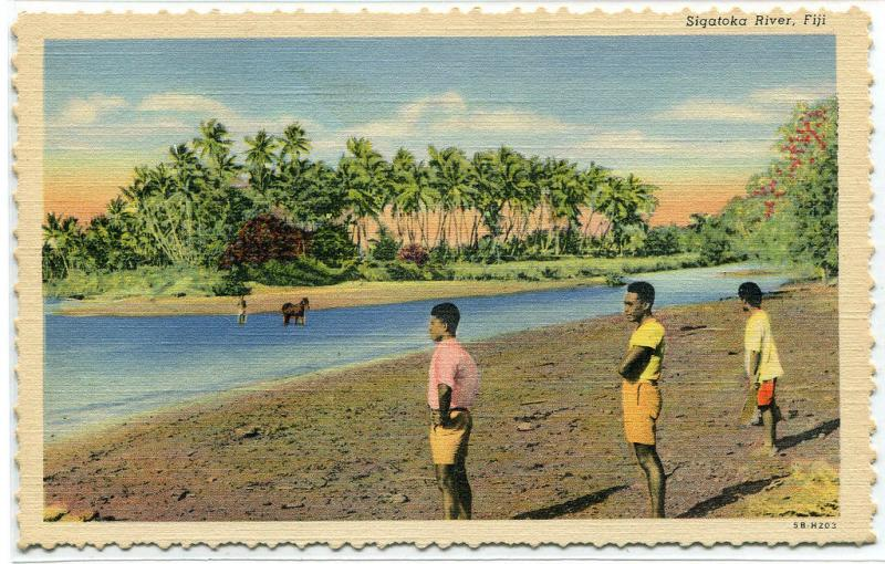 People at Sigatoka River Fiji linen postcard