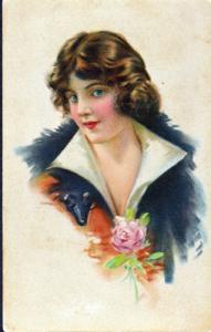 YOUNG WOMAN ...View shows the young woman posing with a rose, 1900s / FRANCE